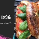 Hot dog with mozzarella sauce & caramelized onion