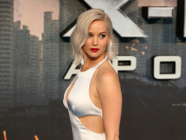 "LONDON, ENGLAND - MAY 09: Jennifer Lawrence attends the ""X-Men: Apocalypse"" Global Fan Screening at BFI IMAX on May 9, 2016 in London, England. (Photo by Fred Duval/FilmMagic)"